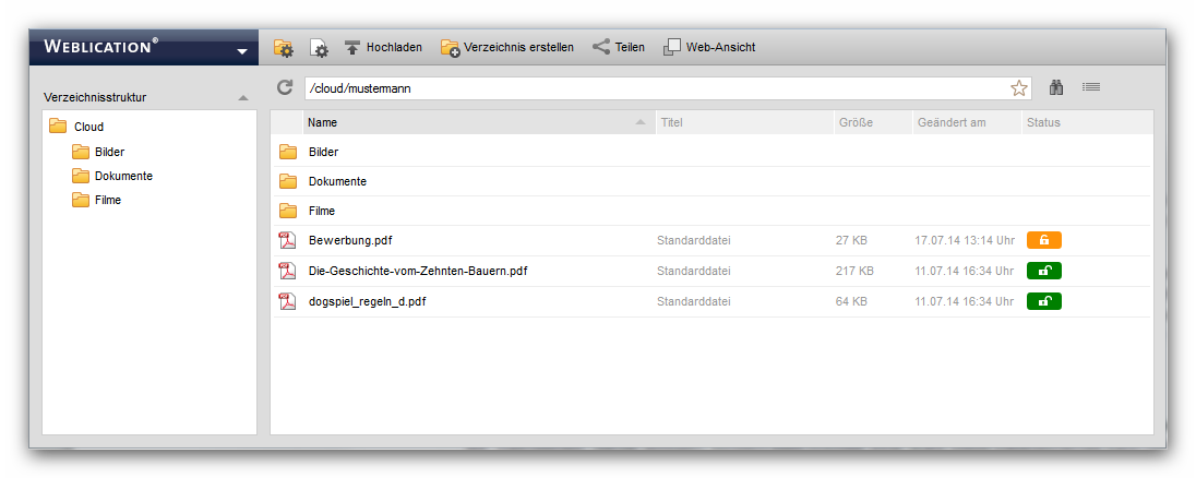 Dateiexplorer Darstellung der Weblication® Cloud